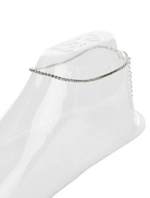 Single Strand Ankle Bracelet Silver
