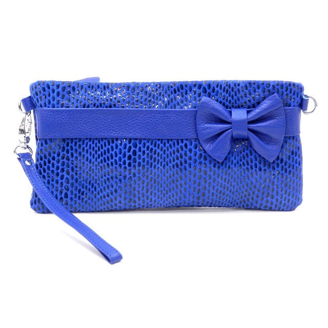 Designer Inspired Clutch with Bow Accent Sophie Blue