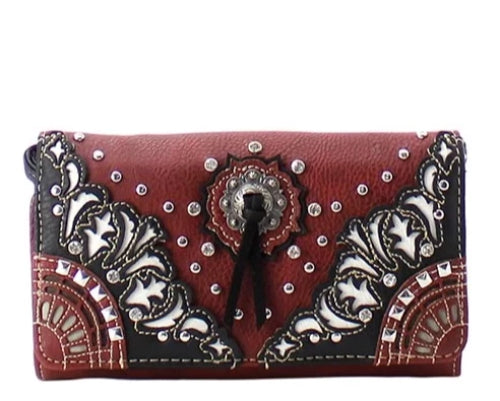 Western Rhinestone Messenger Bag Red