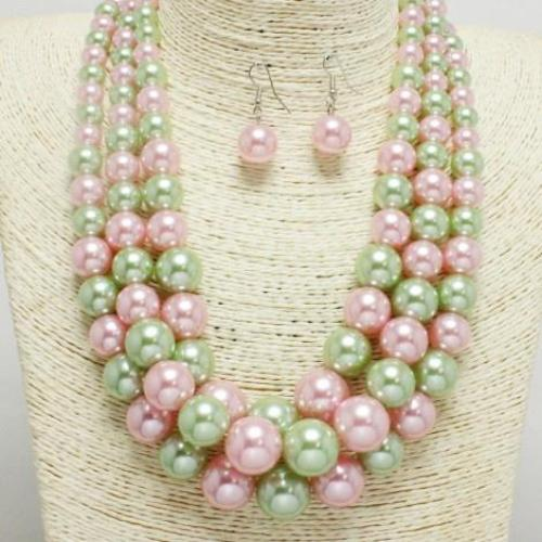 Pearl Layered Necklace Set Pink/Green