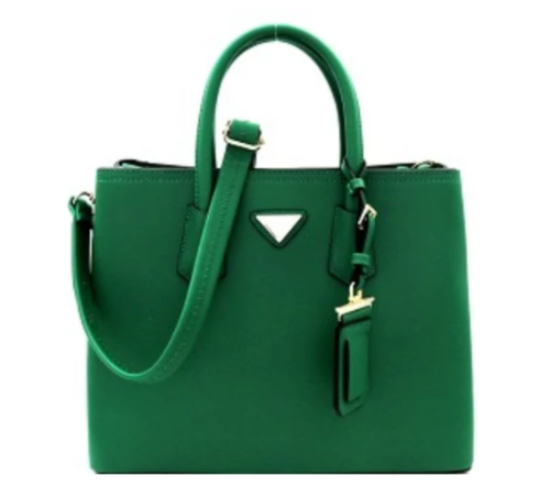Triangular Logo Structured Saffiano Satchel Green