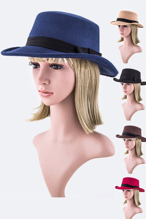 Open Crown Felt Hat Assorted Colors