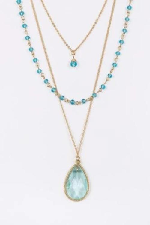 Layered Crystal Teardrop Pendant Set Turquoise