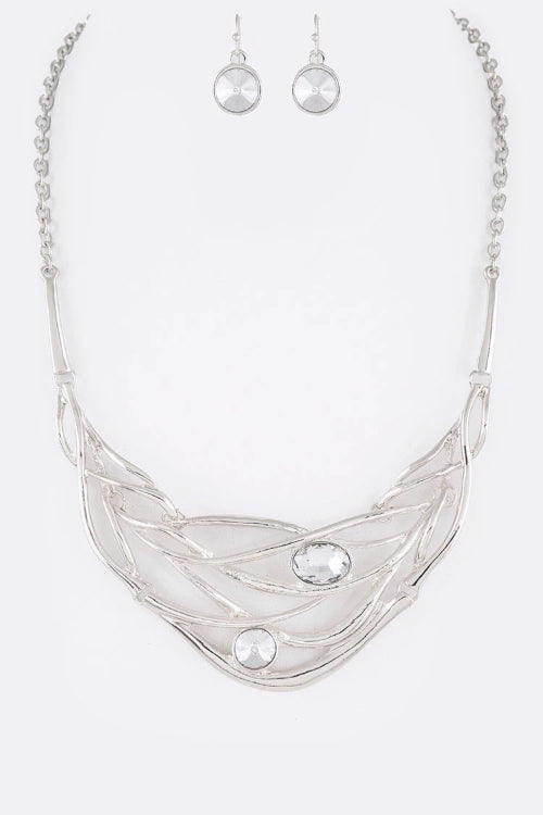 Crystal Dotted Statement Necklace Set Silver