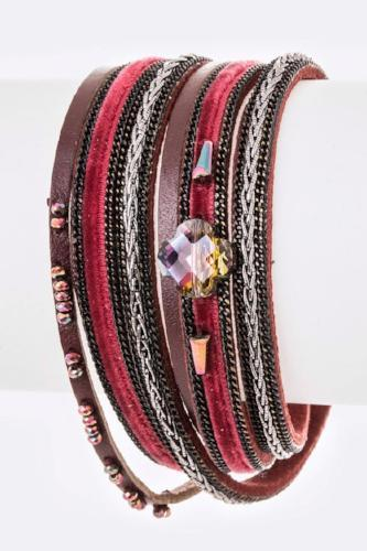 Crystal Mix Leather Double Wrap Magnetic Bracelet Burgundy