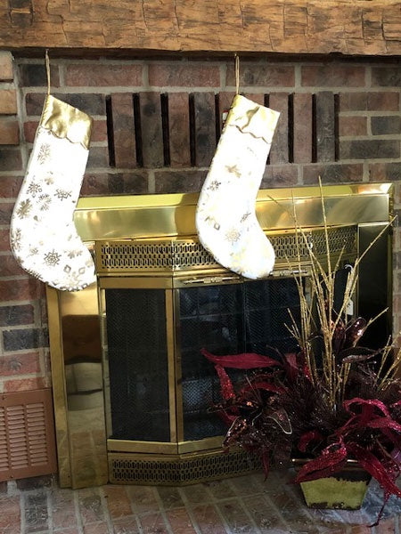 Gold Cuff & Snowflake Christmas Stocking