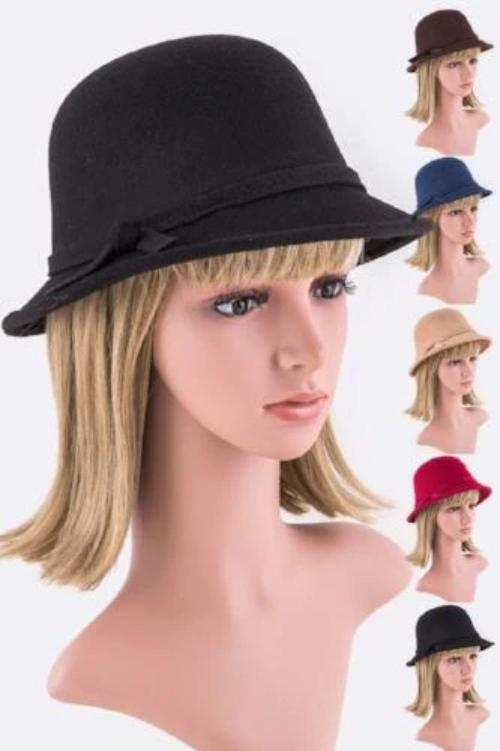Skinny Bow Felt Hat Assorted Colors