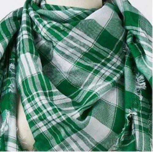 Assorted Green/White Scarves Style 1 (Plaid)