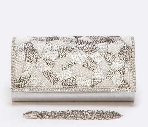 Crystal Flap Satin Clutch Silver