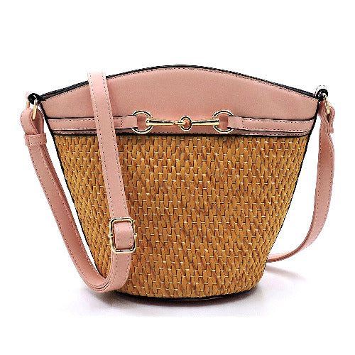Straw Bucket Crossbody Peach