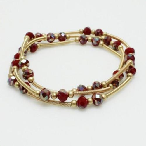 Beaded Bracelet 3 Strand Set Red