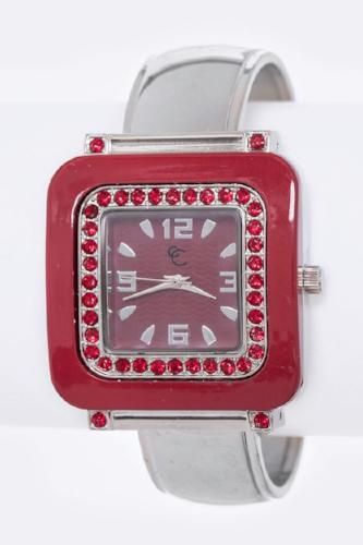 Crystal Bangle Watch Red