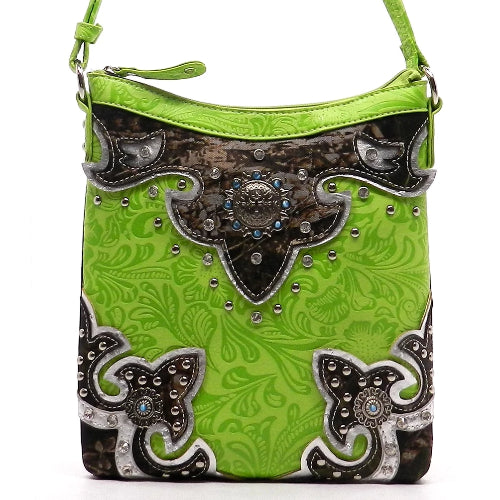 Western Flower Embossed Print Camouflage Crossbody Lime
