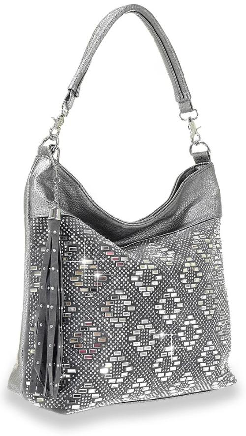 Rhinestone and Gem Design Hobo Bag Pewter