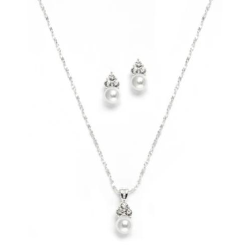 White Pearl & Crystal Necklace Set