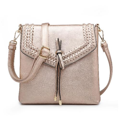 Flapover Braided Crossbody Rose Gold