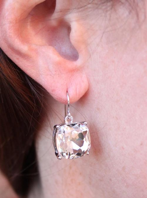 Schell Cushion Cut Crystal Drop Earring Silver