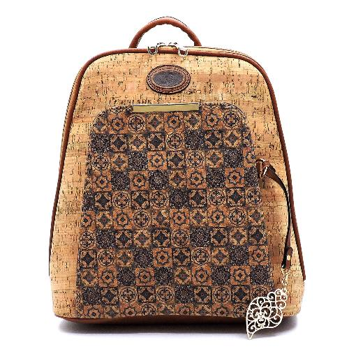 Flower Printed Cork Backpack