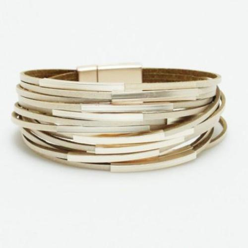 Multi-Strand Bar Accent Leather Bracelet Champagne