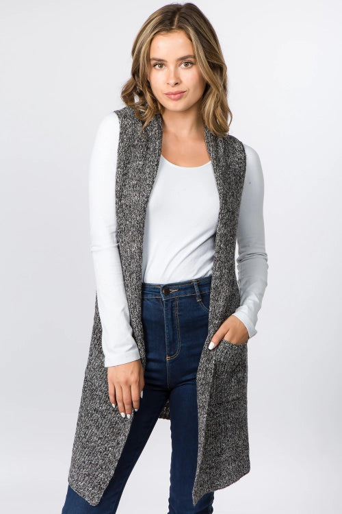 Heather Knit Vest with Pockets Black