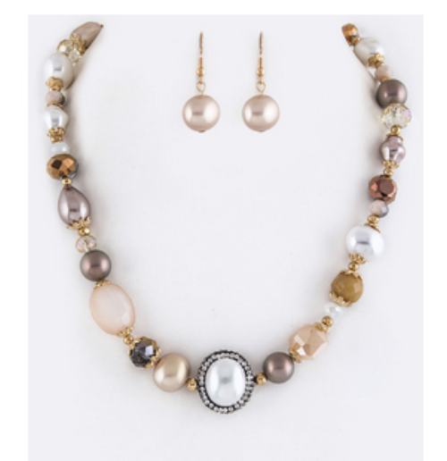 Mixed Beads & Pearl Necklace Set