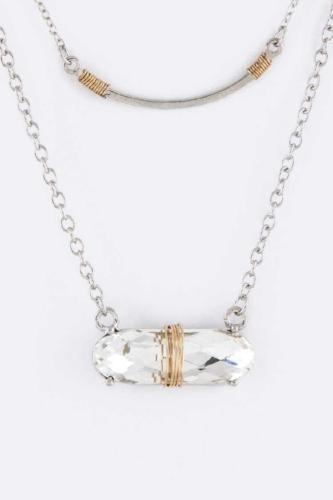 Wired Crystal & Metal Bar Necklace Set