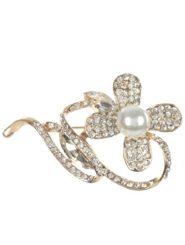 Pave Crystal Stone Brooch Gold