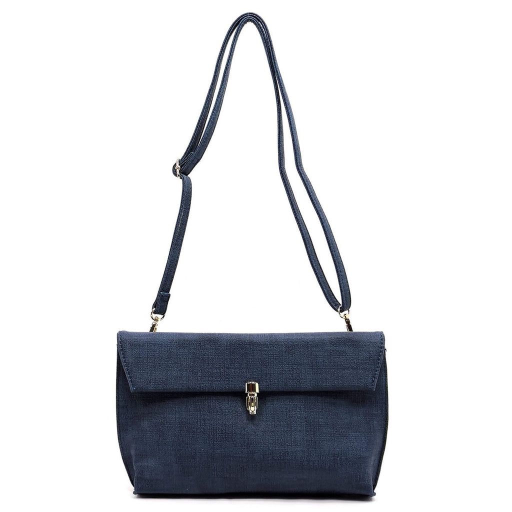 Textured Push Lock Clutch/Crossbody Denim