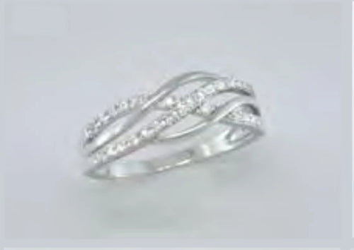 Silver/CZ Multi-Layer Twist Band