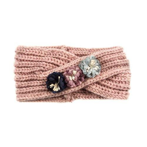 Knit Headband with Flowers Pink