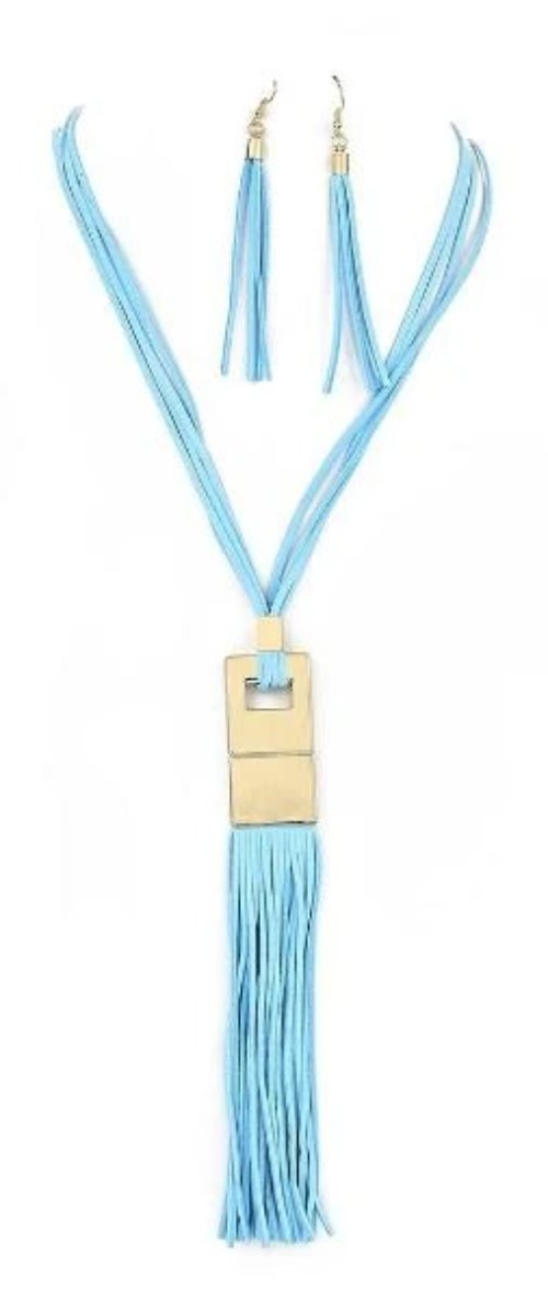 Multi-Strand Suede Gold Pendant Y Necklace Set/Teal