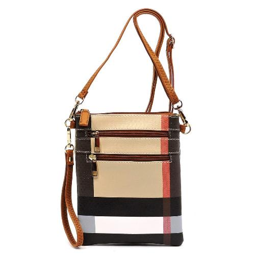 Plaid Check Zip Crossbody Bag/Wristlet Tan