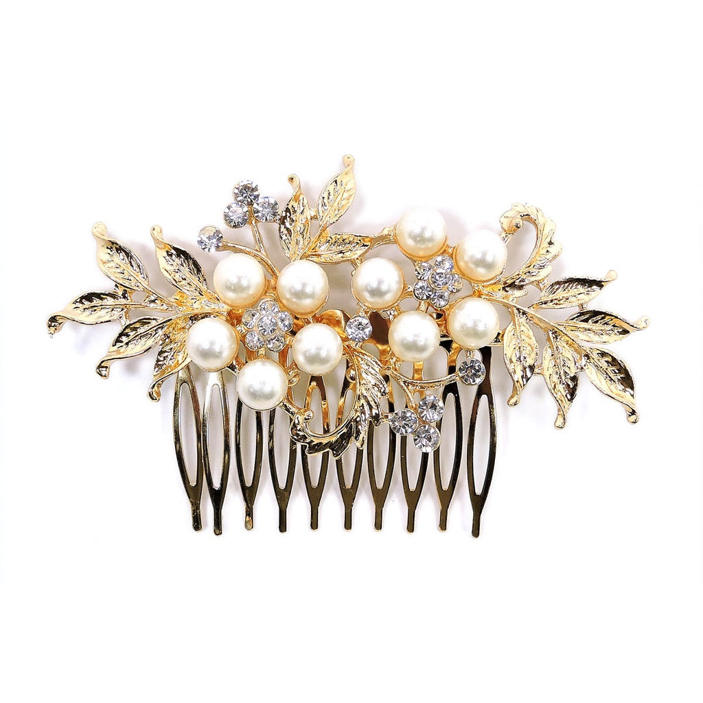 Pearl & Crystal Hair Comb Gold
