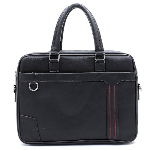 Stripe Accented Briefcase/Laptop Case Black