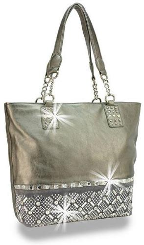 Rhinestone Accented Tall Shopper
