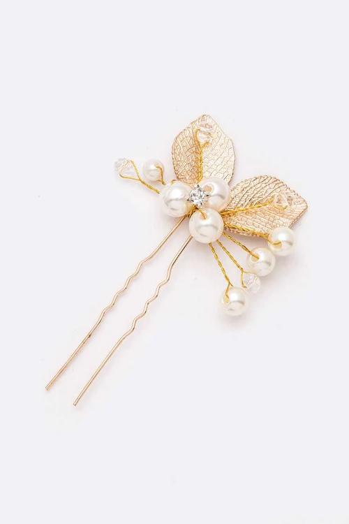 Gold Leaf And Pearls Wired Hair Stick