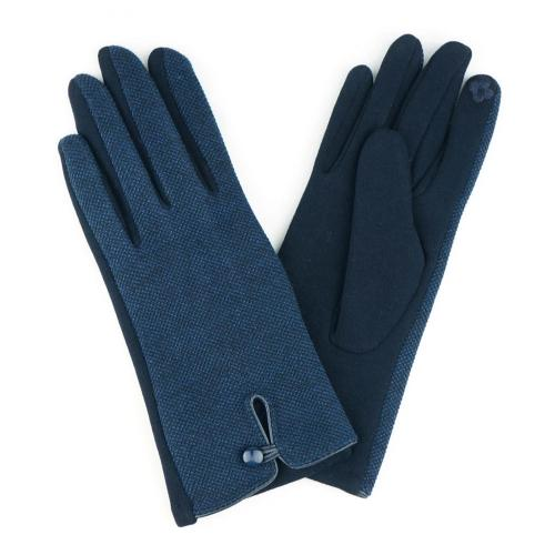 Tweed Smart Touch Gloves with Button Detail Navy