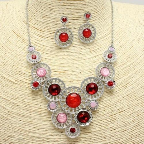 Silver/Red Trendy Circle Necklace Set