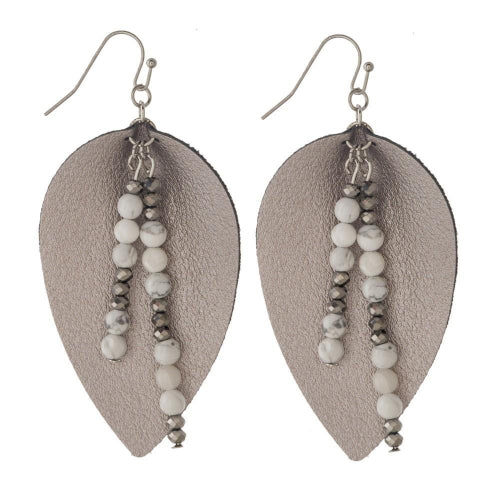 Leather Teardrop Earrings with Natural Stone Accent Hematite