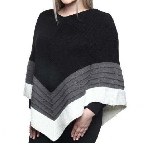 Two Tone Triangle Shape Poncho Black/Grey/White