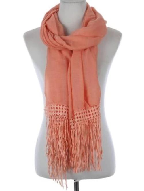 Lace Trim Sheer Scarf Peach
