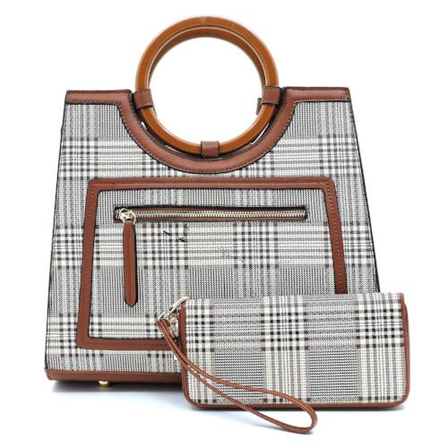 Tartan Plaid Check Round Top Handle 2-in-1 Satchel Brown