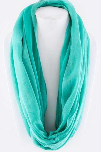 Solid Color Silky Infinity Scarf Mint