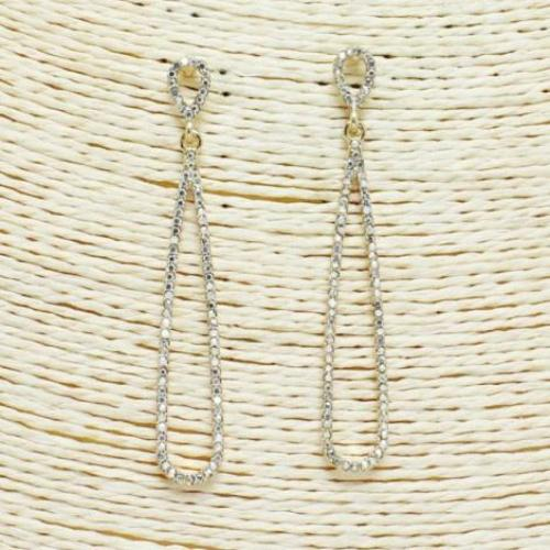 Pave Setting Dangle Earrings Gold/Silver