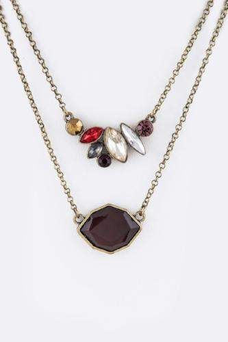 Crystal Layer Pendant Necklace Multi