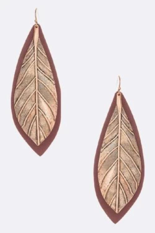 Hand-Painted Leather Leaf Drop Earrings Burgundy