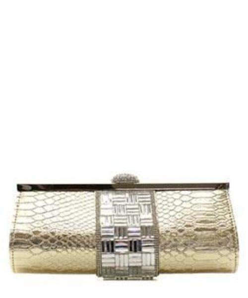 Fashion Faux Snake Clutch Messenger Bag Silver