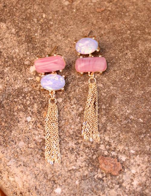 Maryann Opal And Stone Post Drop Earring With Metal Tassel - Blue