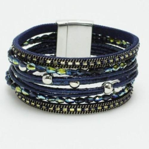 Iridescent Stone and Multi-Strand Leather Bracelet Blue