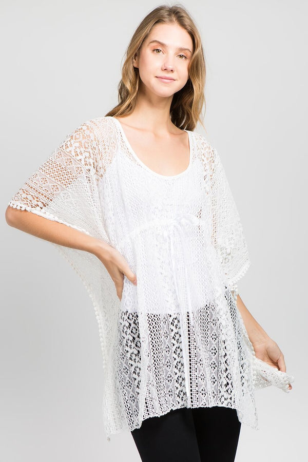 Crochet Chest Tie Tunic Top Ivory